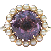 Antique Amethyst & Seed Pearl Cluster Ring 14K Gold Edwardian