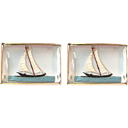Vintage Reverse Cut Essex Crystal Intaglio 14K Gold Sailboat Cufflinks | Men's Jewelry