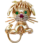 Vintage Diamond, Ruby, & Emerald Lion Brooch Pin | 1960's Van Cleef And Arpels Inspired