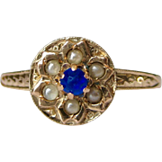 Engraved Pearl & Blue Stone Ring