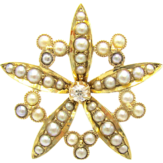 Antique Diamond & Split Pearl Star Flower Edwardian Brooch | Bridal Jewelry | Customize Into A Pendant Necklace