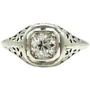 Vintage Old European Cut Diamond Filigree Solitaire Engagement Ring Art Deco 14K Gold Mounting Bridal Jewelry | Promise Ring