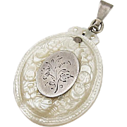 Victorian Mother of Pearl Sterling Silver Pendant Carved Flowers