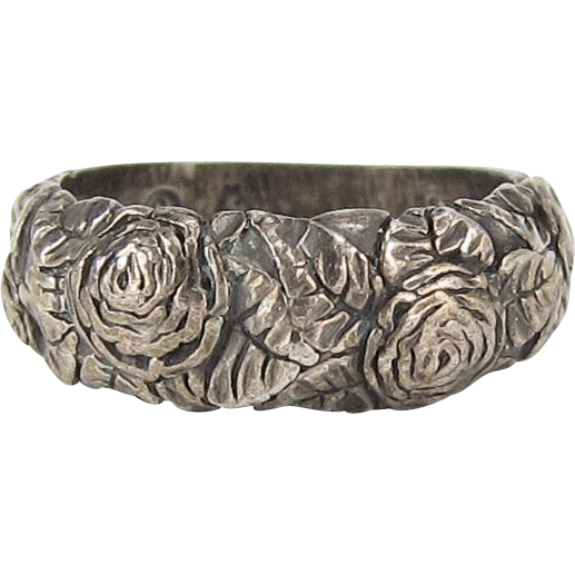 sterling silver ring engraved flowers marked from
