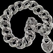 Victorian Sterling Silver Repousse Bracelet Heart Padlock Charm