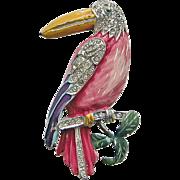 Vintage Jose Rodriguez Toucan Rhinestone Enamel Pin