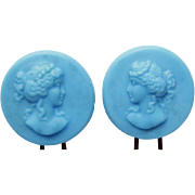 Pair of Antique  Victorian Blue Glass Cameo Hair Pins Ornaments