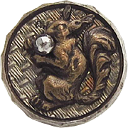 Victorian Picture Button Squirrel Cut Steel