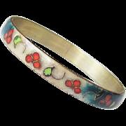 Vintage Cloisonne Enamel Bangle Bracelet Floral Hallmarked Chinese