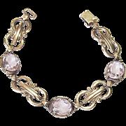 Vintage Symmetalic Bracelet Sterling Silver 14k Amethyst