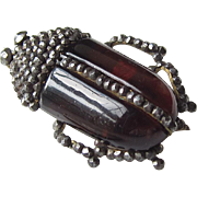Victorian Cut Steel Beetle Pin Deep Ruby Red Glass