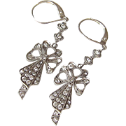 Antique Sterling Rhinestone Bow Earrings Germany