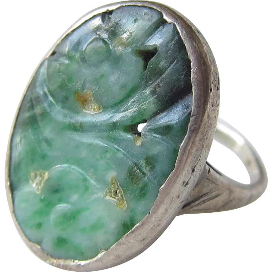 vintage sterling silver jade ring crafted floral from
