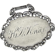 Antique Sterling Silver Luggage Tag Engraved Knox