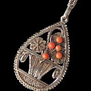 Vintage Dutch Silver Coral Filigree Pendant Necklace Basket of Flowers