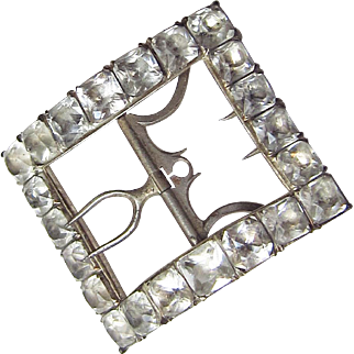 Georgian Paste Silver Gilt Shoe Buckle Square Pastes