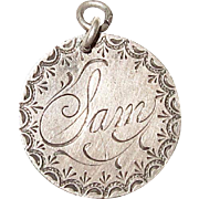 Victorian Love Token Charm Engraved Sam 1890