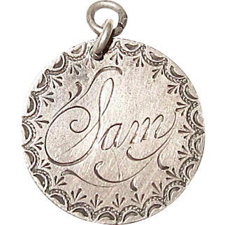 Victorian Love Token Charm Engraved Sam 1890