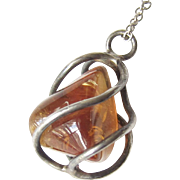 Vintage Sterling Silver Amber Pendant Necklace