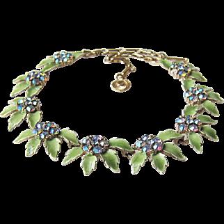 Vintage Lisner Rhinestone Enamel Necklace Flowers Motif