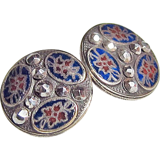 Pair Cut Steel Enamel Buttons