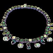 Claudette Rhinestone Necklace Green