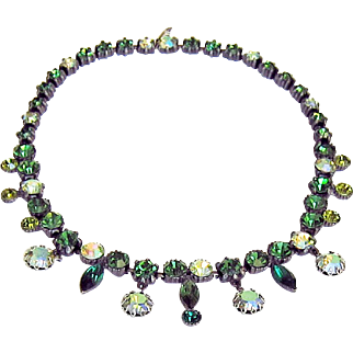 Claudette Rhinestone Necklace Green