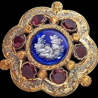Victorian Georgian Mourning Pin Garnets Enamel