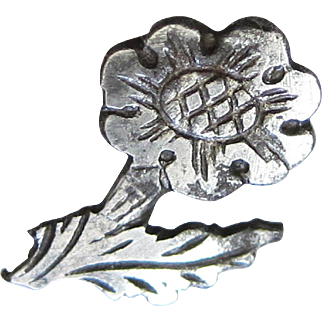 Georgian Victorian Cut Steel Button Realistic Flower Motif