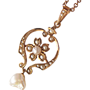Edwardian Lavalier Lavaliere Necklace 10K Rose Gold Pearls Ornate
