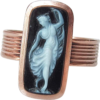 Victorian 14k Rose Gold Cameo Ring Inscribed Daughter 1877 Mourning Hardstone