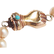 Georgian Victorian 14k Gold Hand Clasp Turquoise