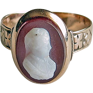 Antique Victorian Cameo Ring Hardstone 14k Gold Size 6 1/2