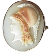Antique Shell Cameo Pin Pendant 10k Gold Athena Minerva