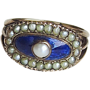 Georgian Victorian Ring 9k Gold Pearls Bristol Blue Glass Size 6 1/2