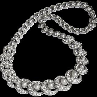 Elegant Vintage Ora Rhinestone Necklace Imitation Pearls