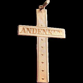 Antique Vintage Gold Filled Cross Pendant German Andenken Souvenir