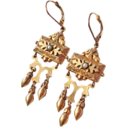 Antique Victorian Earrings Gold Filled Dangly