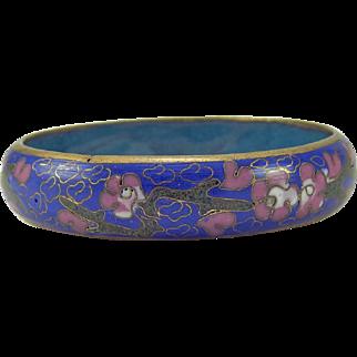 Chinese Cloisonne Bangle Bracelet Cobalt Blue Lavender Flowers