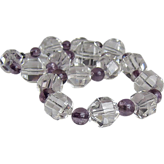 Vintage Rock Crystal Amethyst Choker Necklace Large Sparkly Faceted Beads
