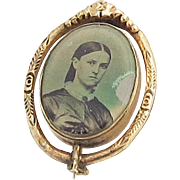 Victorian Mourning Spinner Pin Photograph