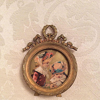1800's Miniature Framed Doll Picture