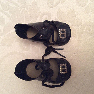 Black Oil Cloth Doll Shoes 2 5/8""