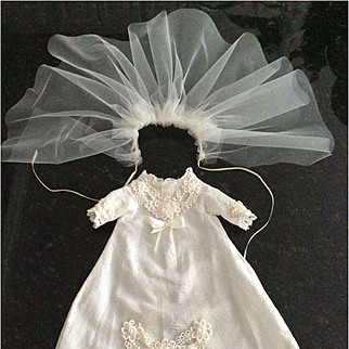 "Vintage Dress And Netting Or Veil For 14"" Doll"