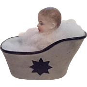 German All Bisque Character Piano Baby Boy In Bath Tub