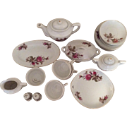 Moss Rose Child's China Tea Set, Complete With Platters