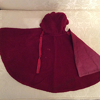 "Early Wool Cape For 24"" Bisque Doll"