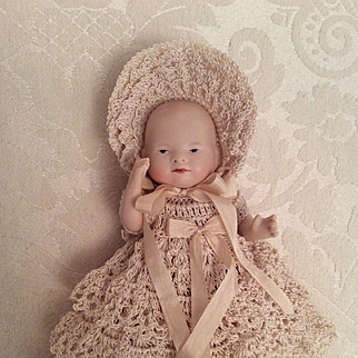 Small Baby Doll Gown, Bonnet, Booties, Panties