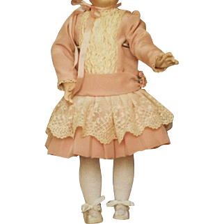 Vintage Dress, Bonnet, Shoes for French Doll