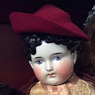 Vintage Burgundy Red Felt Hat for Doll or Bear